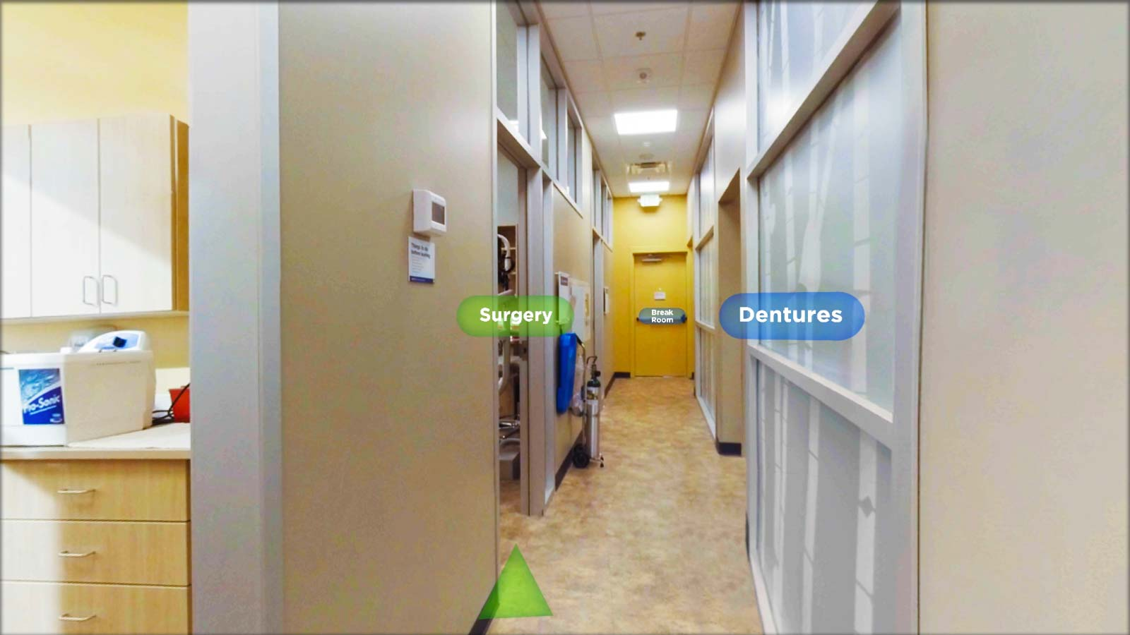 VR interior tour showing Surgery and Dental areas in a dental office
