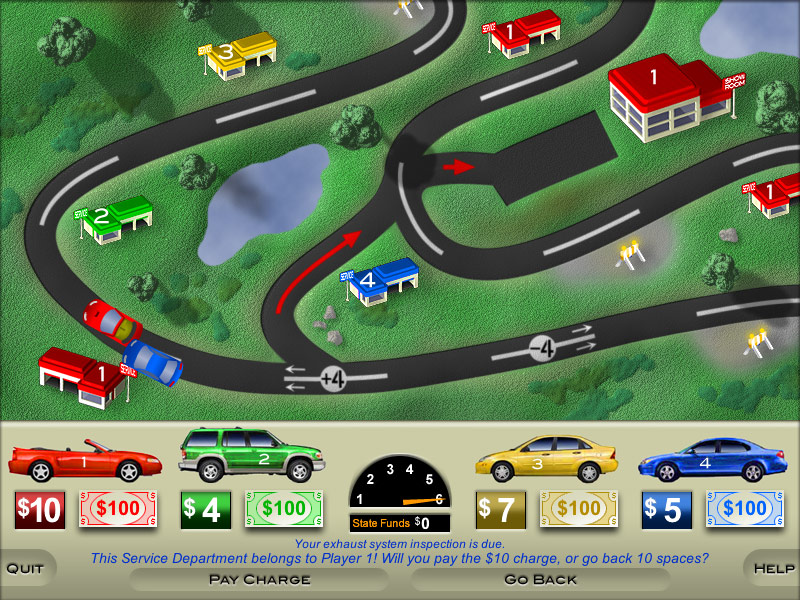 Game screenshot: cars on road map and money amounts