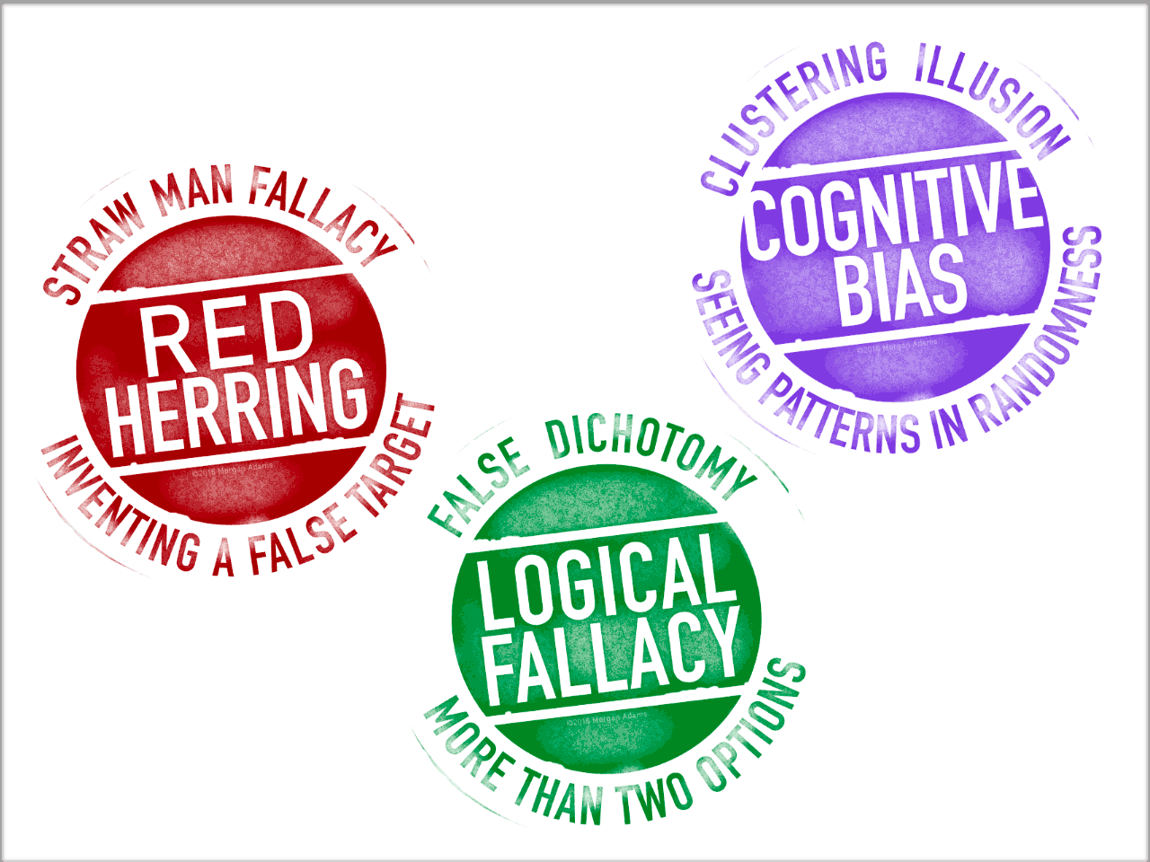 Logical fallacies rubber-stamp style stickers
