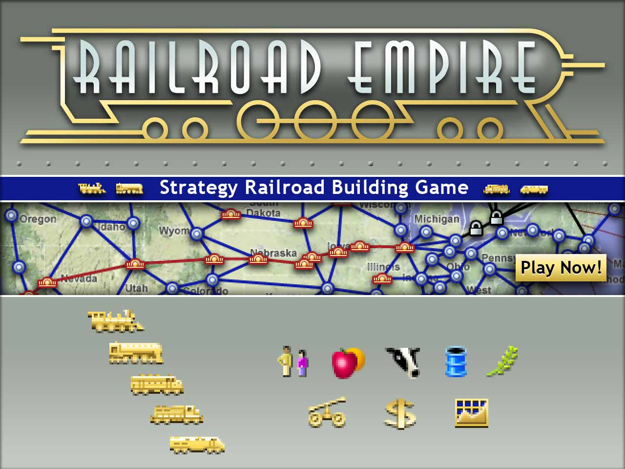 Railroad Empire logo and illustrations