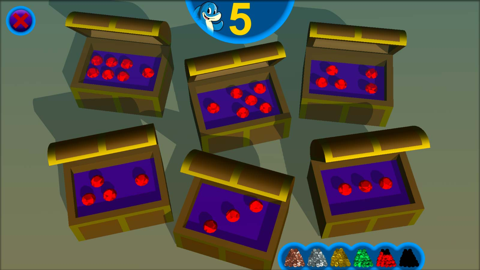 Educational mobile game to teach early math skills: treasure chests with countable patterns of gems